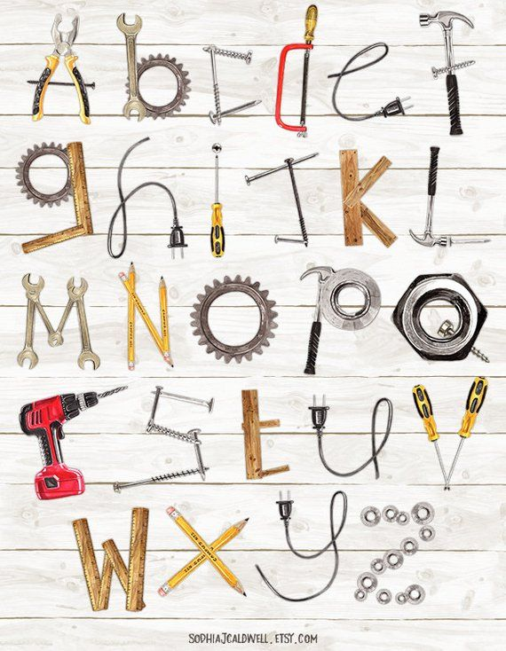 Alphabet Clipart Watercolor Tool Clipart Name Letters Woodworking