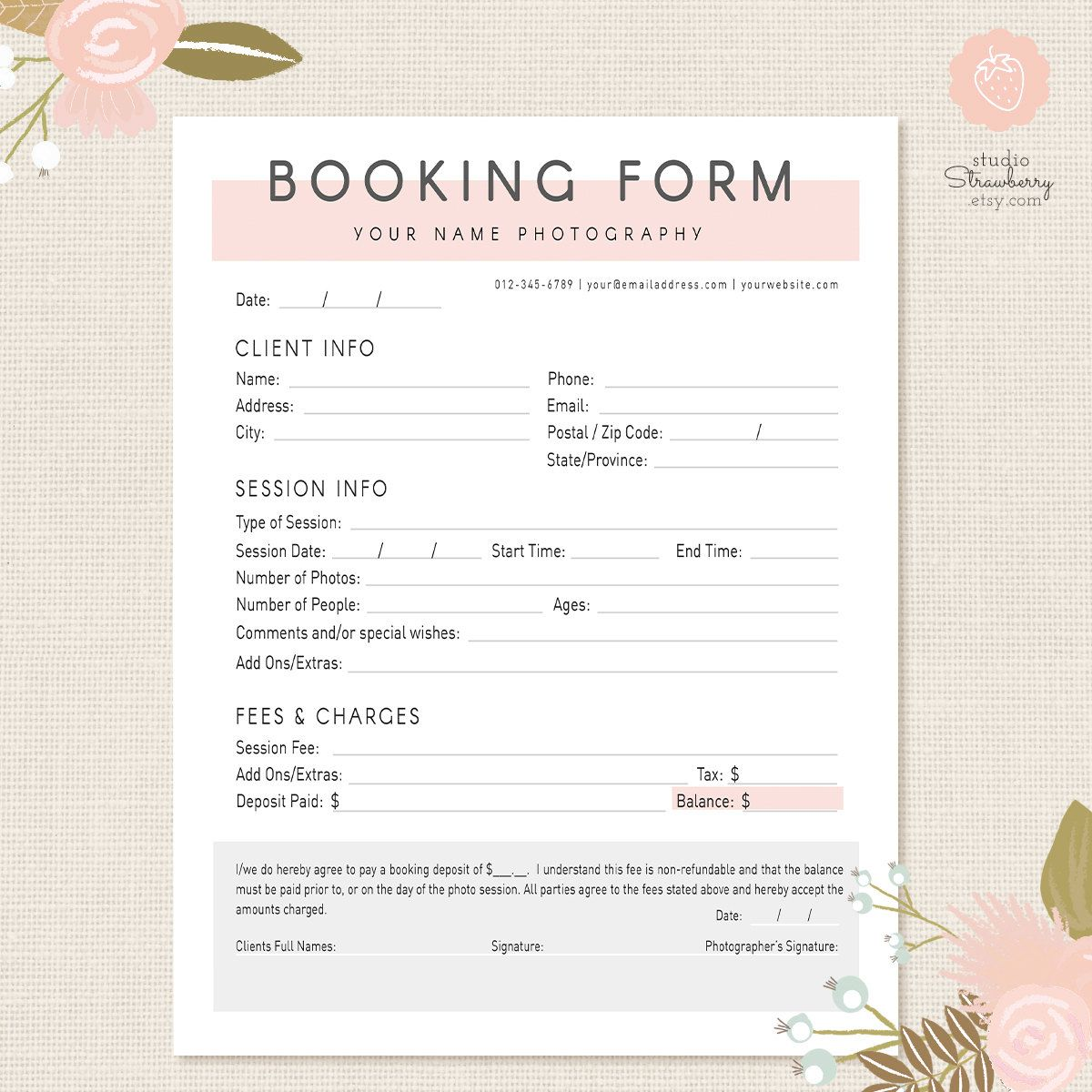 Photography Forms Client Booking Form Template For Photographers Modern Style Offer Your Clients A Way To Sing Up One Of Photo Sessions Or
