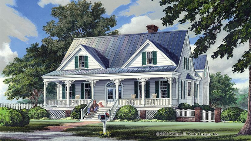 Ranch One Story Floor Plan With Wrap Around Porch Sunroom And Bonus Room