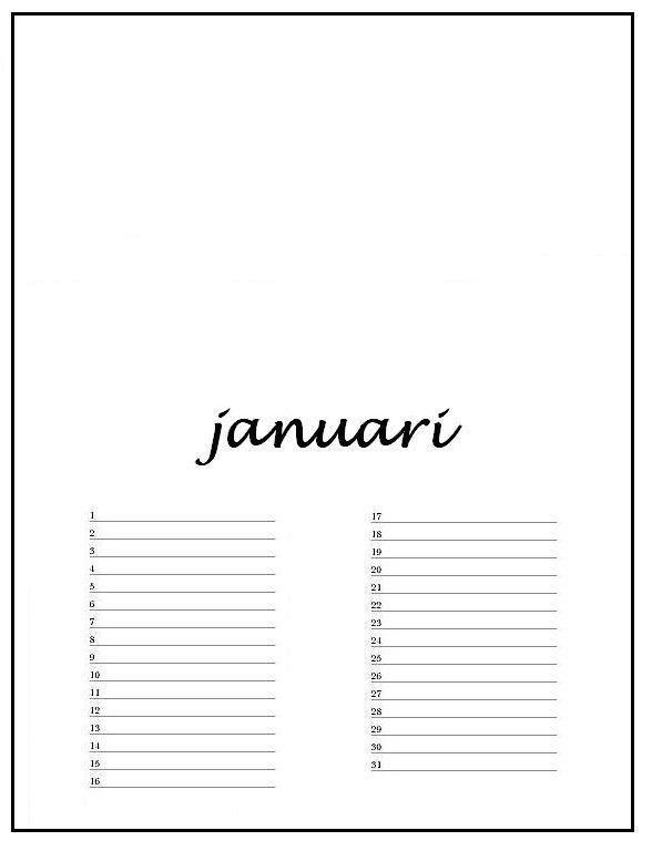 Favoriete verjaardagskalender januari met lijn - Hobby.blogo.nl | knutselen @VT59