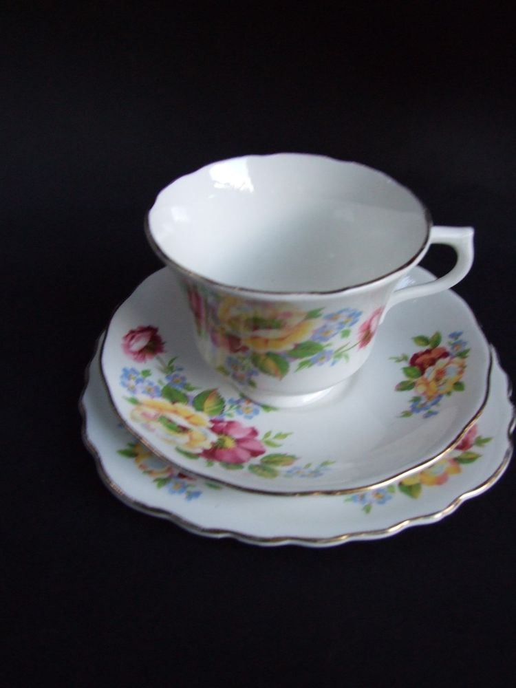Vintage Vale Fine Bone China Trio Cup / Saucer / Plate/ Set Made in England & Vintage Vale Fine Bone China Trio Cup / Saucer / Plate/ Set Made ...