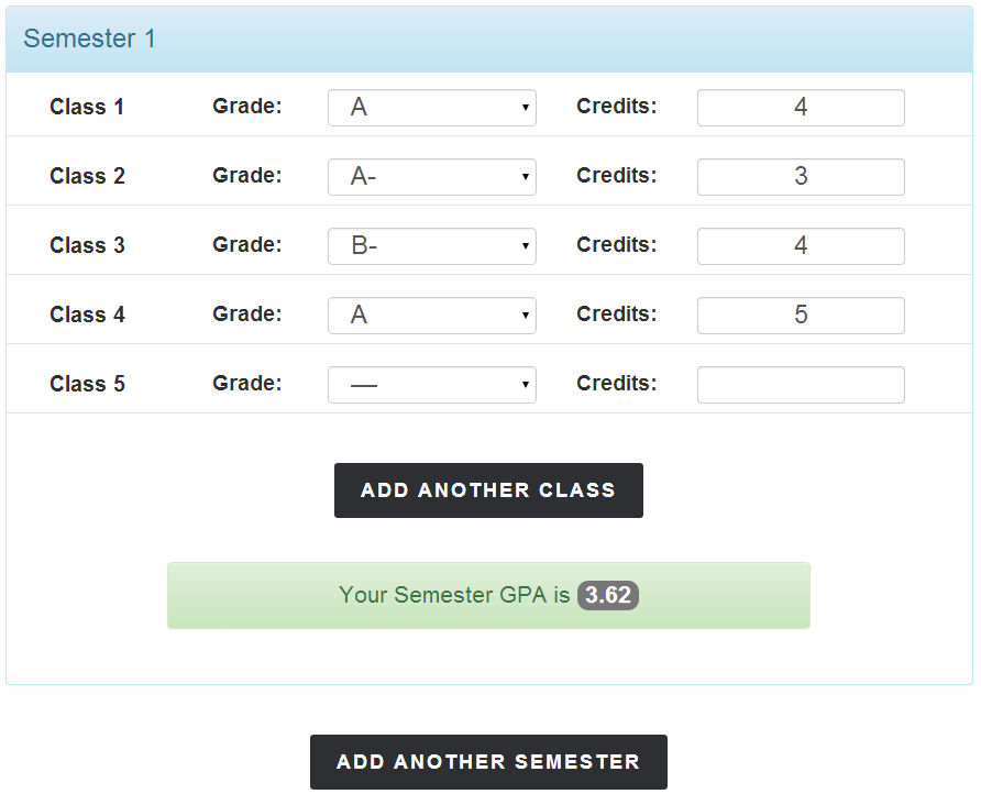 College Gpa Calculator Semester Gpa Total  College Stuff