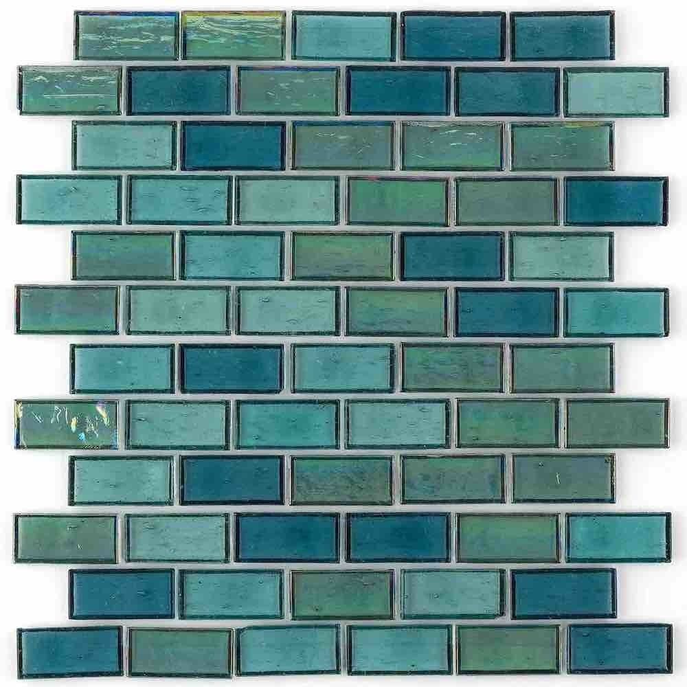 Iridescent Recycled Glass Tile Turquoise 1 X 2 Recycled Glass Tile Glass Tile Recycled Glass