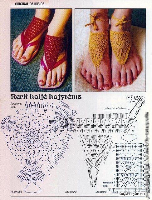 Sandalias Patron | sandalias tejidas | Pinterest | Croché, Ganchillo ...