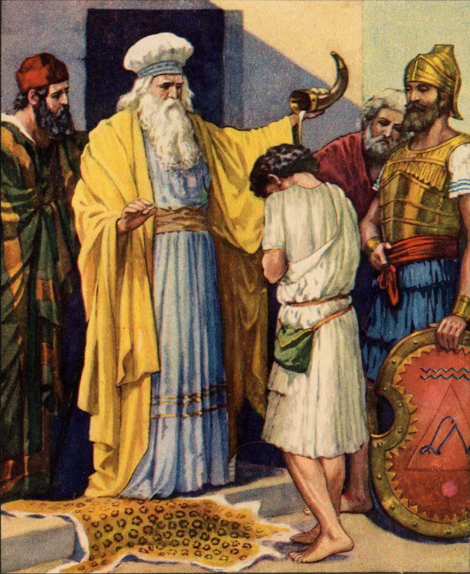 """""""Then Samuel took the horn of oil and anointed him in the"""