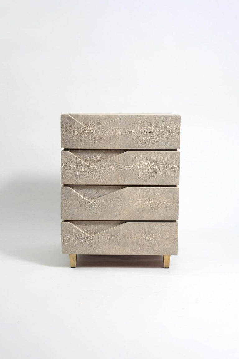 Cream Bedside Tables: Henry Bedside Table In Cream Shagreen And Bronze-Patina