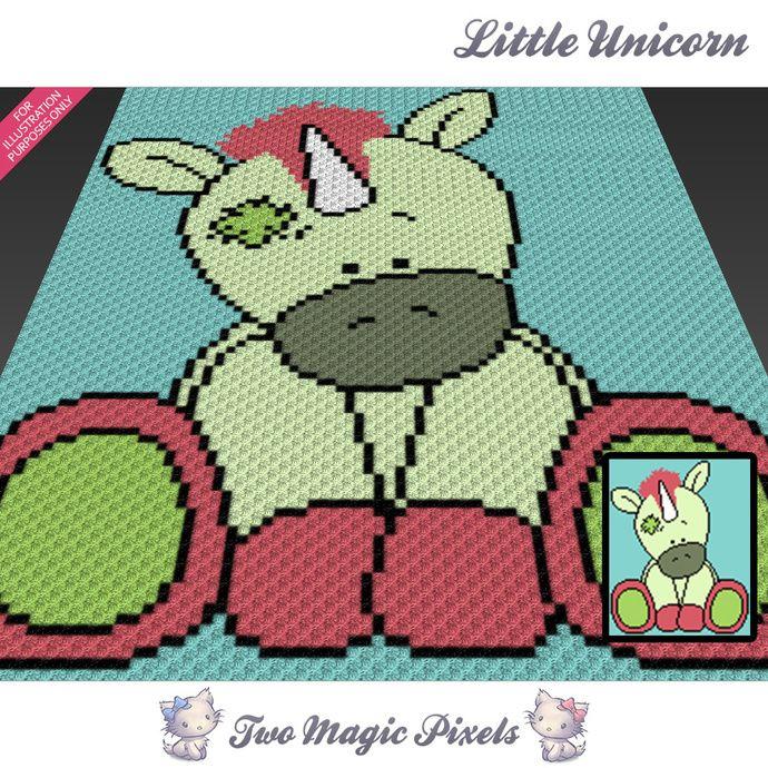 Little Unicorn crochet blanket pattern; c2c, cross stitch; graph ...