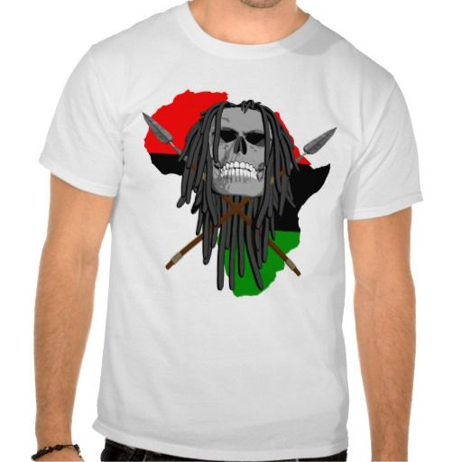 Tribal Skull Shirts. African tribal skull with dreadlocks, warrior spears as crossbones and a red, black, green silhouette of Africa in the background