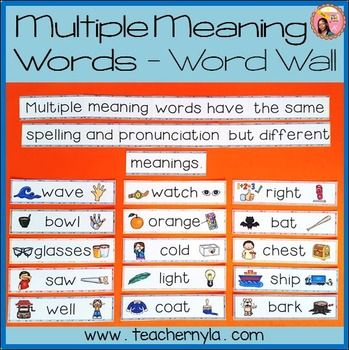 Multiple Meaning Words Illustrated Word Wall Multiple