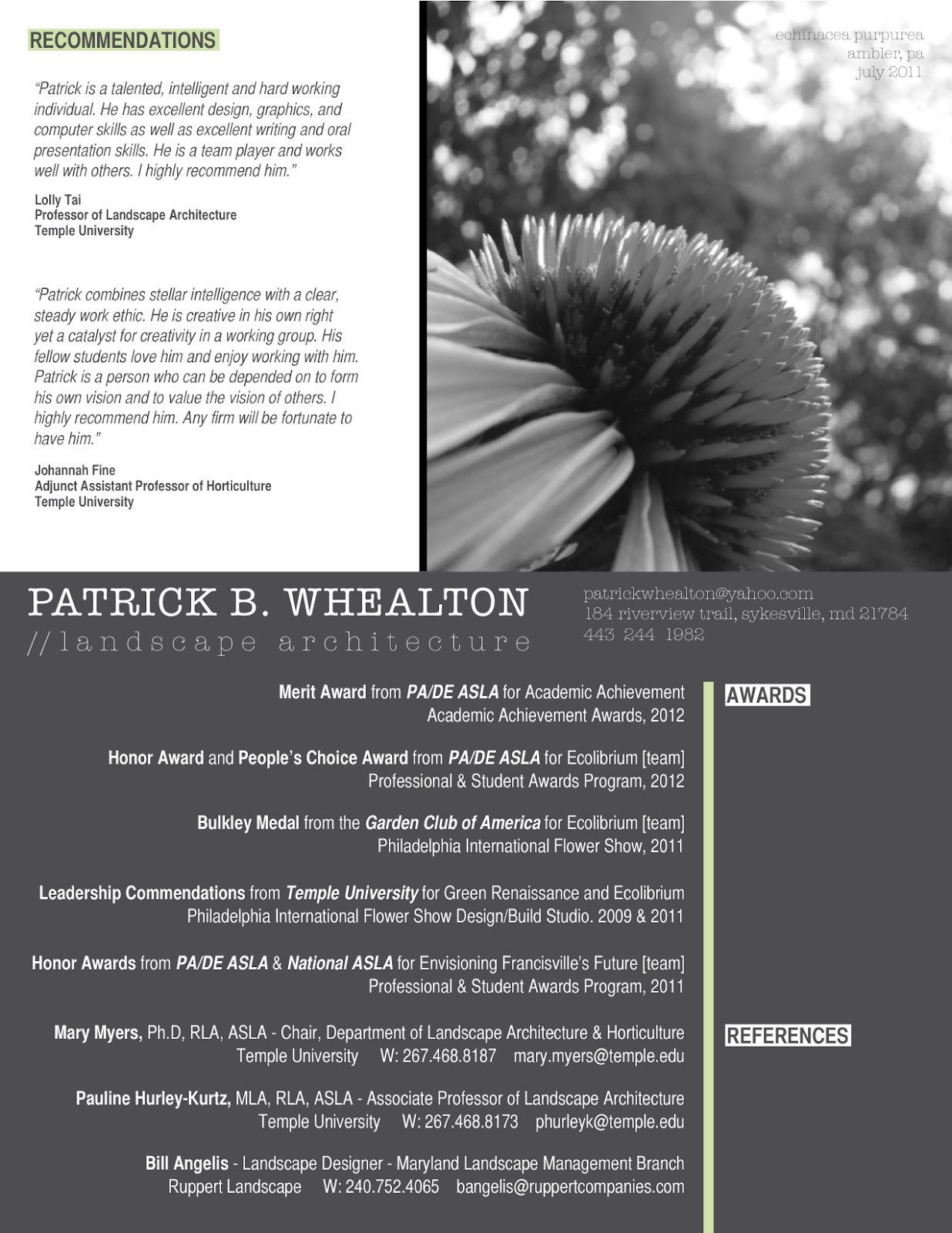 Image result for Landscape Architecture Resume ...