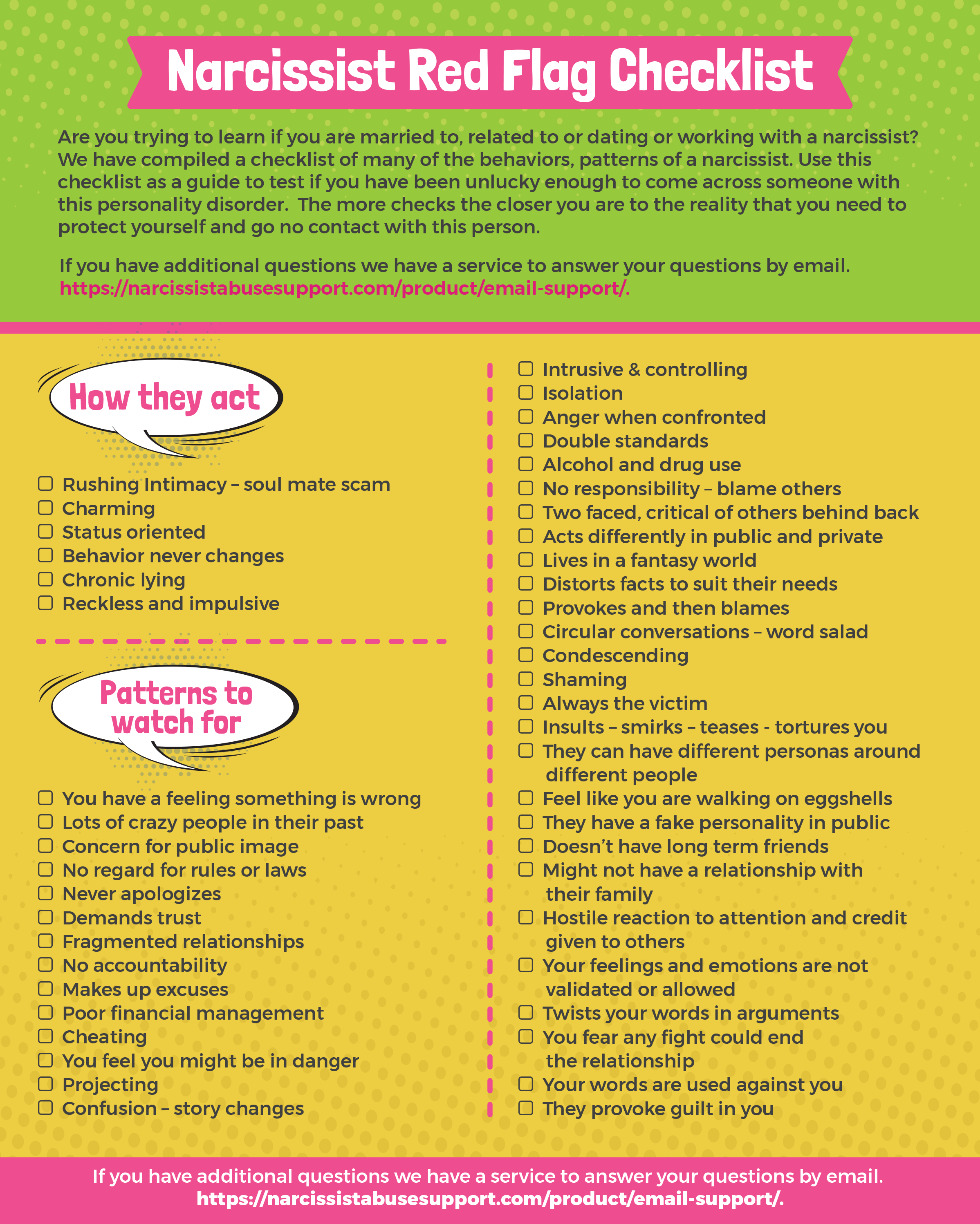 Narcissist Red Flag Checklist