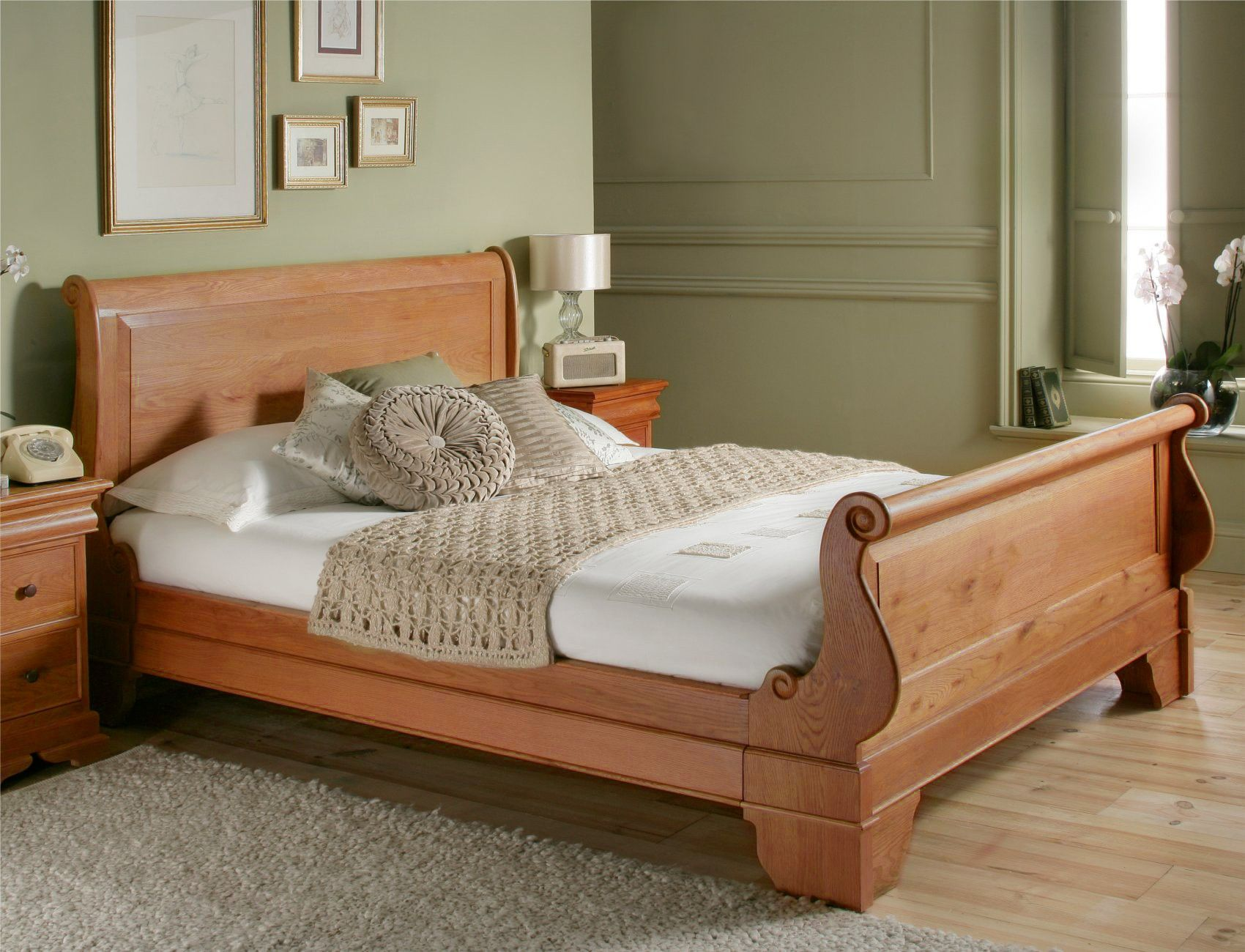 - Toulouse Oak Wooden Sleigh Bed - Light Wood - Wooden Beds - Beds