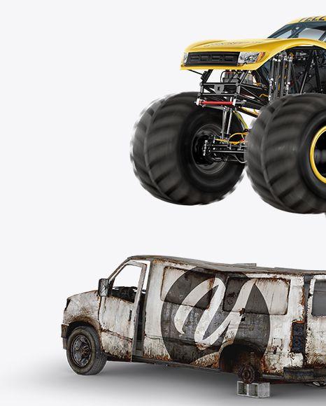 Download Free Mockups Monster Truck Flying Over Cars Mockup Object ...