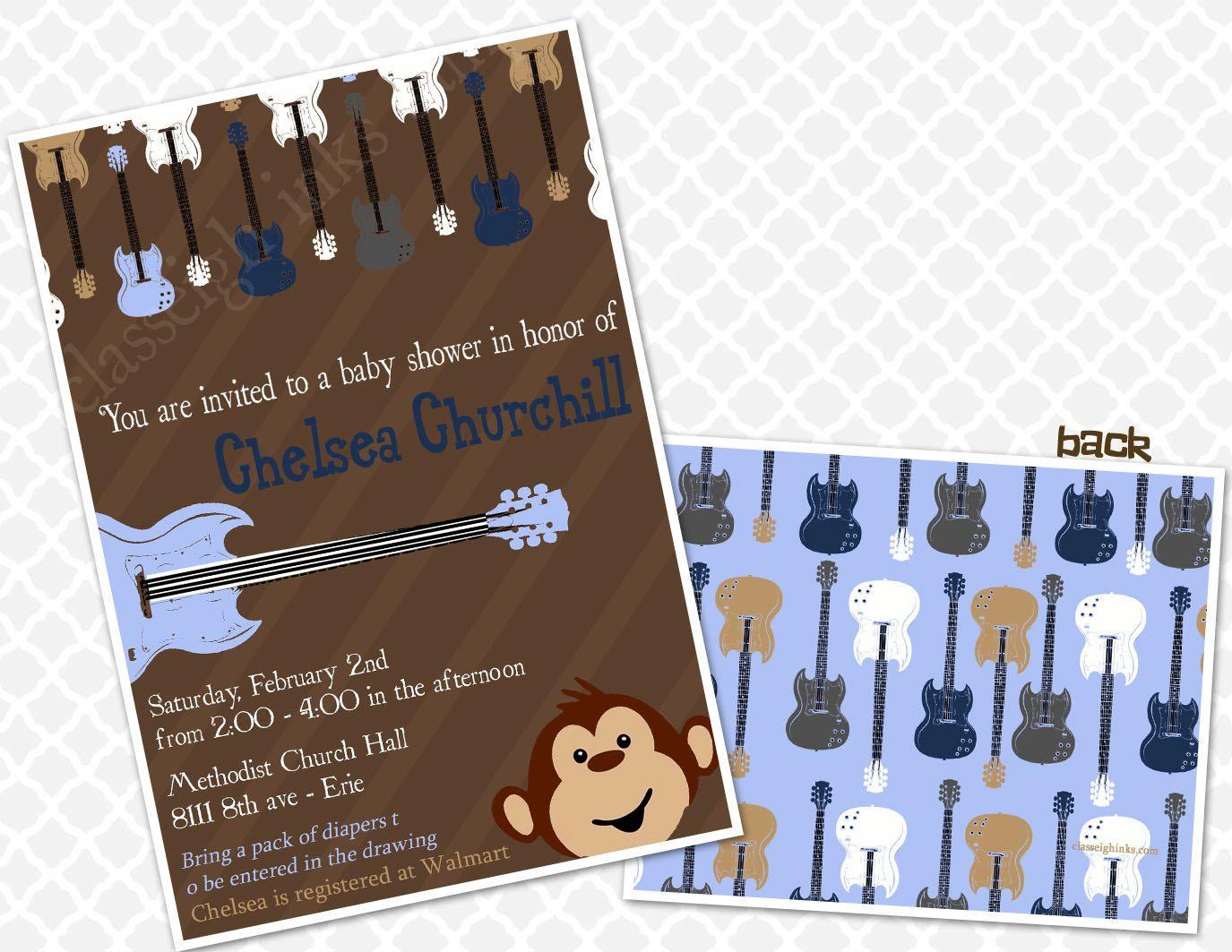 Stripped Monkey Rockstar Baby Shower Invitation Baby Shower Sprinkle ...