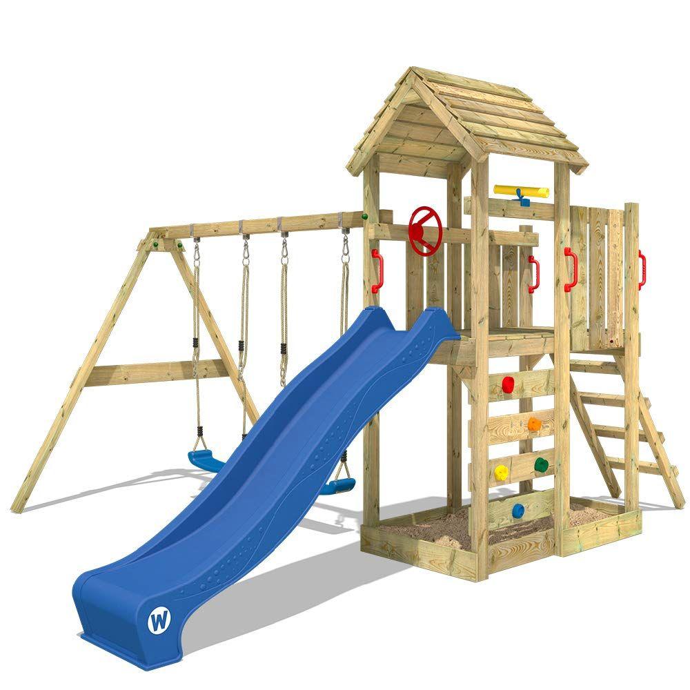 Wickey Kletterturm Multiflyer Spielturm Mit Holzdach Garten Spielplatz Mit Schaukel Und Rutsche Wenn Man Kinder Spielturm Kletterturm Spielturm Mit Schaukel