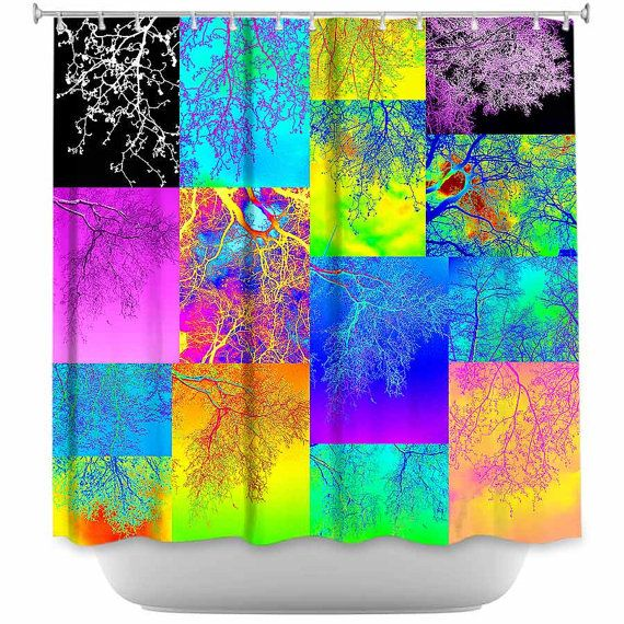 Green Pink Blue Yellow Orange Shower Curtain By
