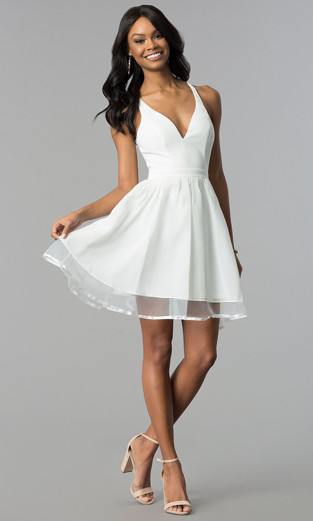 Short Ivory ALine Graduation Dress with Lace Back - White dresses graduation, White dress short formal, White short dress, Graduation party dresses, Graduation dress, Dresses - Make your mark in this ivory white graduation party dress  A modern touch elevates the classic silhouette of this ivory aline party dress  The vneck bodice features a sporty racerback made feminine by sheer floral lace  This adorable ivory grad dress has a short flared skirt that gathers at the banded waistline and features a visually pleasing sheer panel that extends the length  Be onpoint and get high marks for style wearing this ivory white laceback graduation party dress