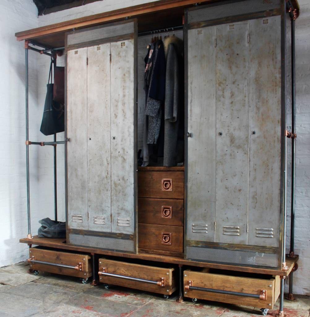 David Open Wardrobe With Vintage Locker Sliding Doors Vintage Lockers Open Wardrobe Lockers