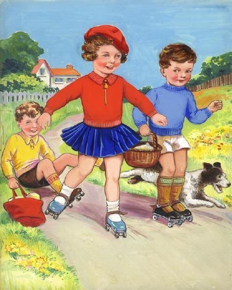 Kids on roller skates - vintage illustration