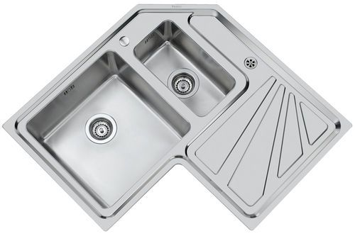 2 Bowl Stainless Steel Corner Kitchen Sink With Drainer Angolare 3306 Std 3306 060 Foster Kitchen Sink Double Kitchen Sink Corner Sink Kitchen