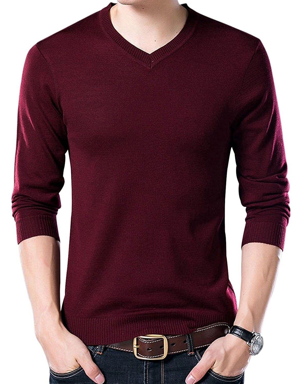 Mens V-Neck Long Sleeve Pullover Sweatshirt Sweater Jumper Blouse Basic Fit Tops