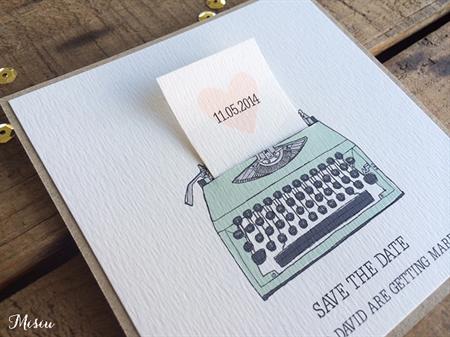 3D Vintage Typewriter Save the Date Card Australian
