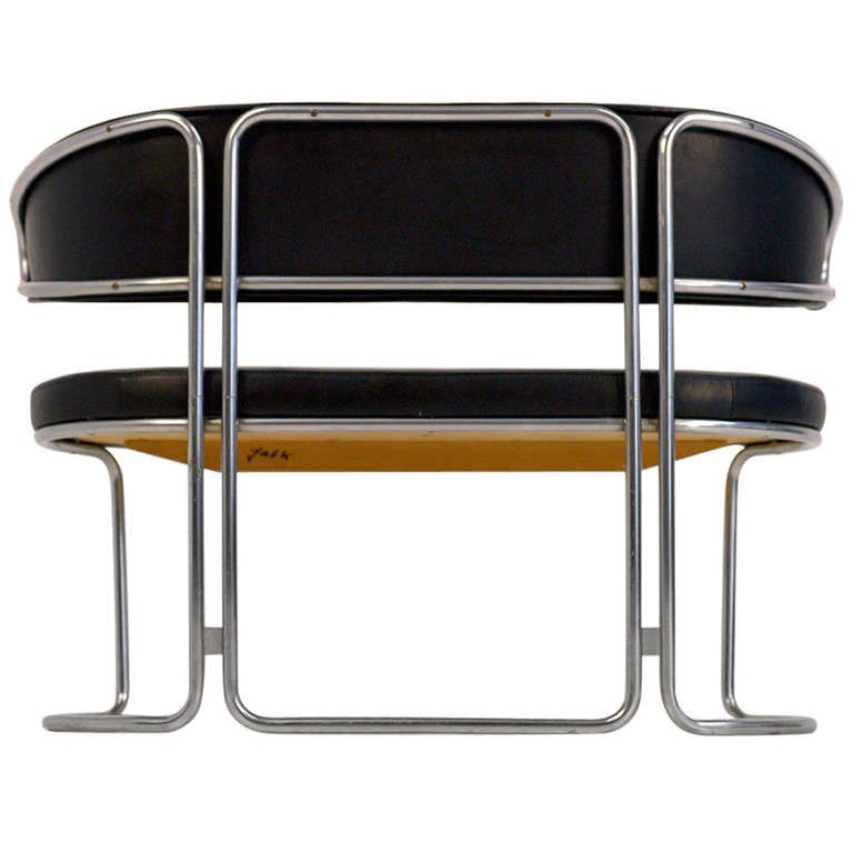 Grete Jalk; Tubular Metal and Leather Two-Seater Sofa by Fritz Hansen, c1971.