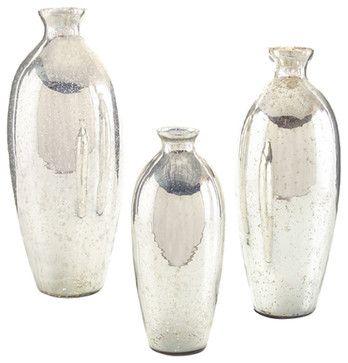 John Richard Set of 3 Mercury Glass Vases JRA-9306S3 transitional-vases
