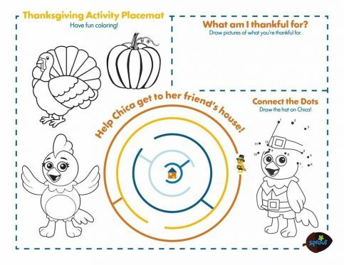 Thanksgiving Placemat – The Chica Show Coloring Pages for Kids ...