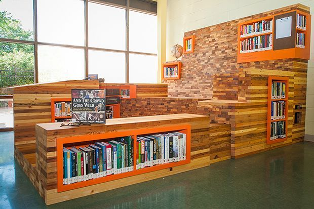 Made of reclaimed wood and electronics, this library can be found at  Horizon House, - Made Of Reclaimed Wood And Electronics, This Library Can Be Found