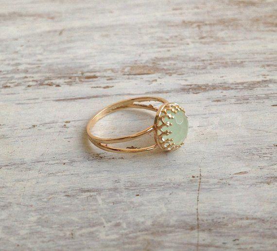 8adb05d7c5376 Green jade ring, gemstone ring, jade stone ring, stackable ring ...