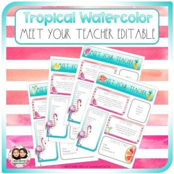 Tropical Watercolor Meet the Teacher #meettheteacherideas