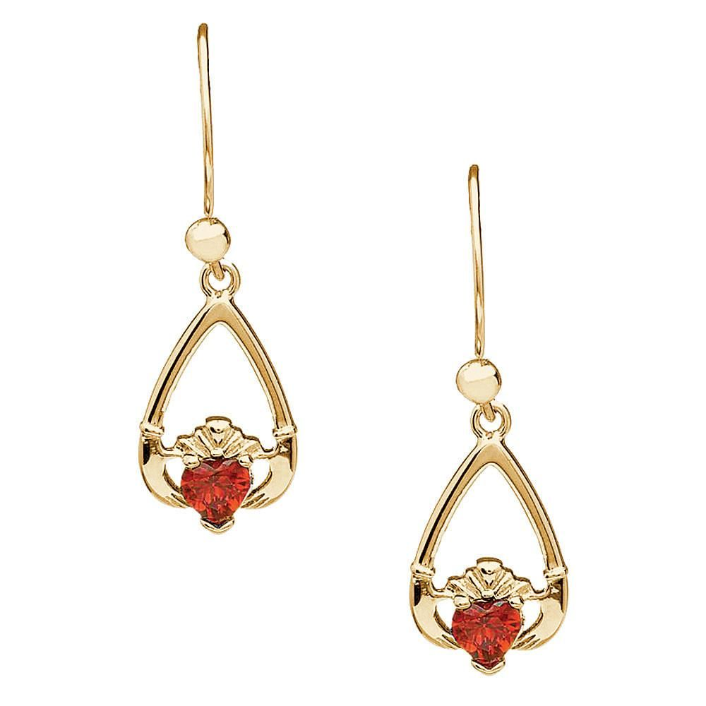 January Birthstone Claddagh Earrings - Garnet