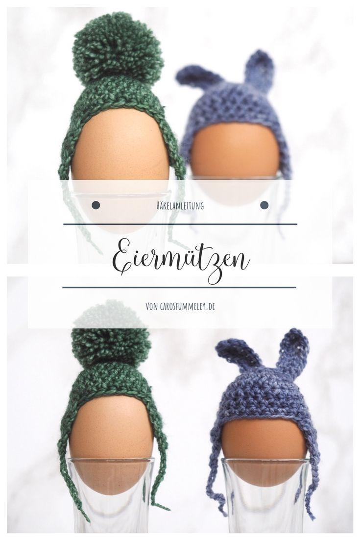 Häkelanleitung: Eiermützen mit Hasenohren oder Bommel   Crochet ...
