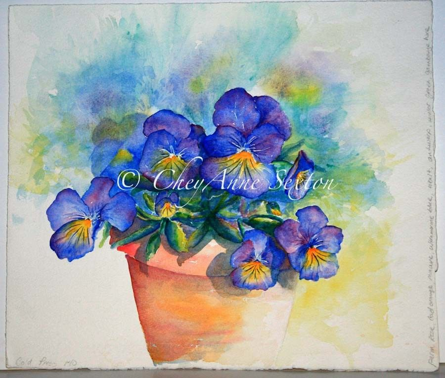 Viola Watercolour - Purple Pansies in Clay - now offered as giclee prints