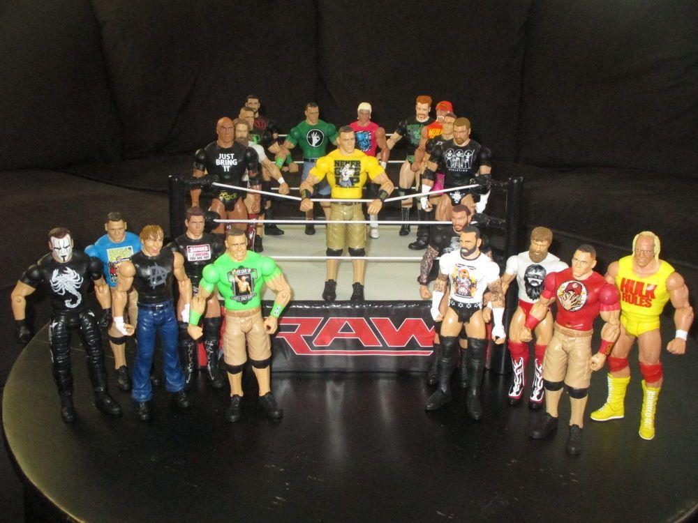 WWE Mattel Basic Superstar Entrances 21 Figure Set Lot w/ Ring-USED Cena, Rock  #Mattel