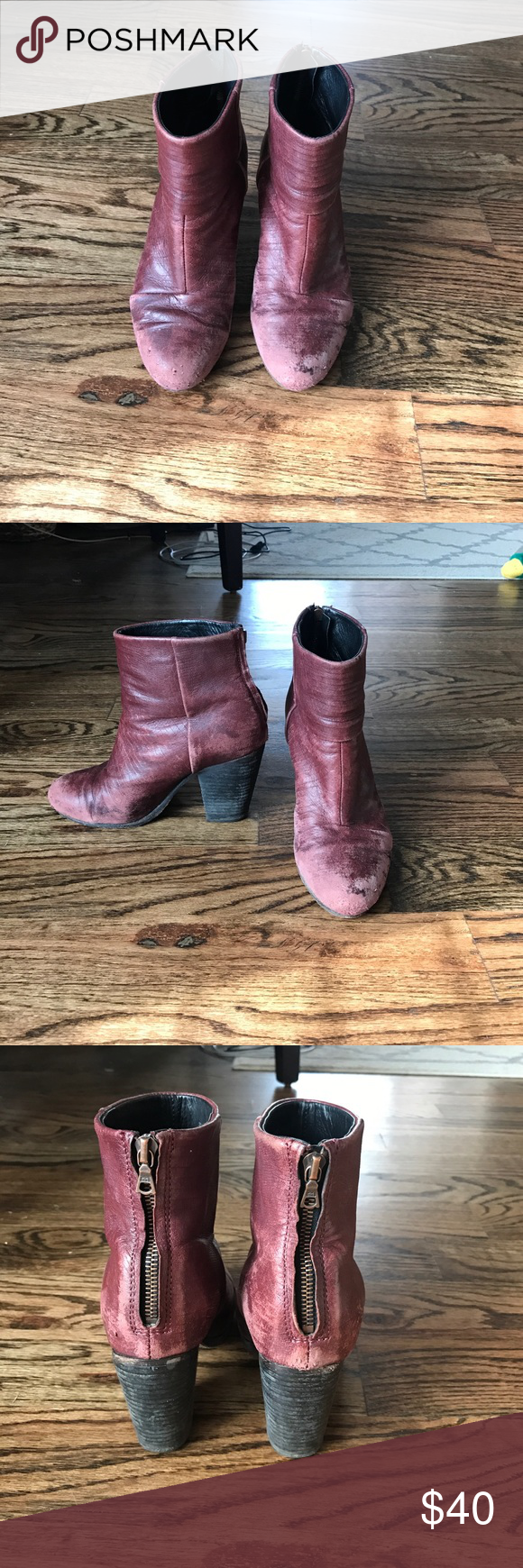 rag & bone booties Maroon rag & bone booties. Not new condition. Have worn for a few seasons. Still wearable and comfortable, zipper works, heels are fine. Leather faded and peeling a bit in front. rag & bone Shoes Ankle Boots & Booties