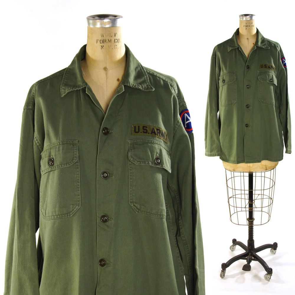 4c983c90 1960s Army Fatigues Shirt / Vintage Military Issue Button Up shirt / USA /  Green Cotton / Long Sleeve / Guaranteed Trooper by SpunkVintage