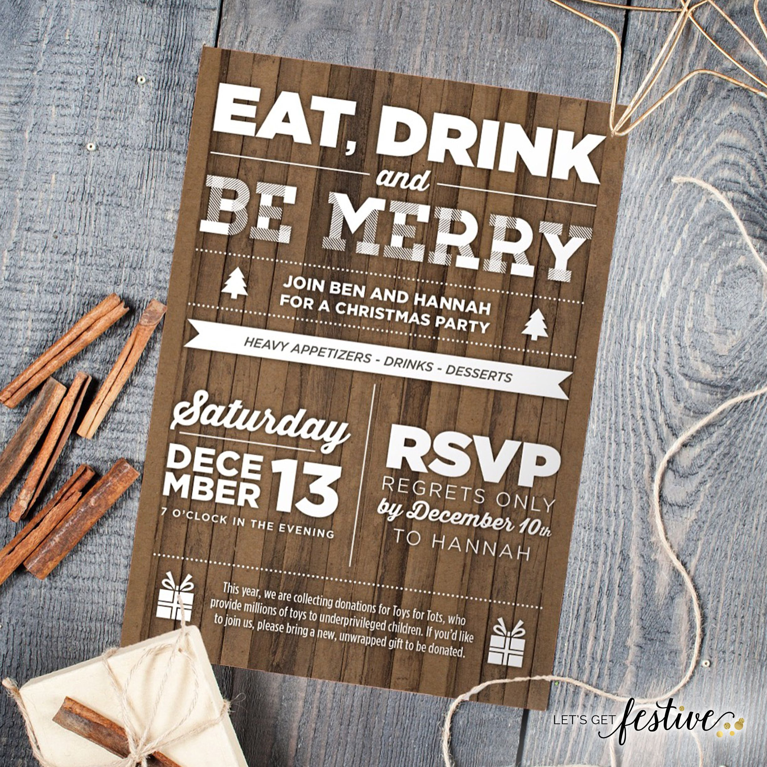 Eat drink be merry rustic christmas party invitations rustic christmas party invitations letsgetfestive wedding stopboris Choice Image