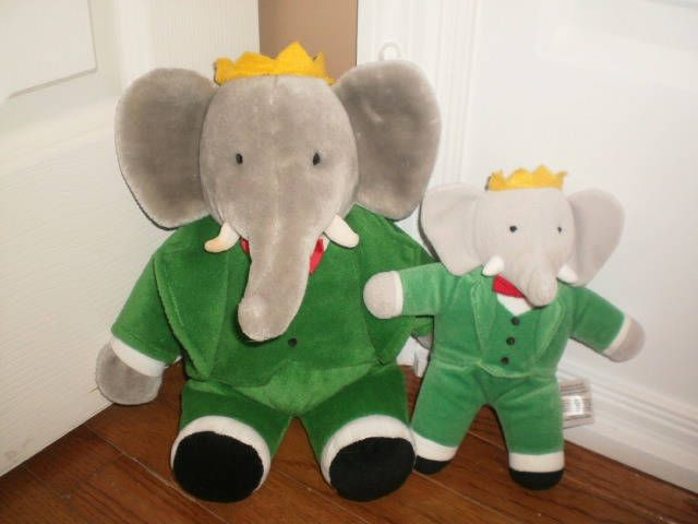 Rare Htf Babar The Elephant Plush Stuffed Lot Of 2 Toys 13 And 8