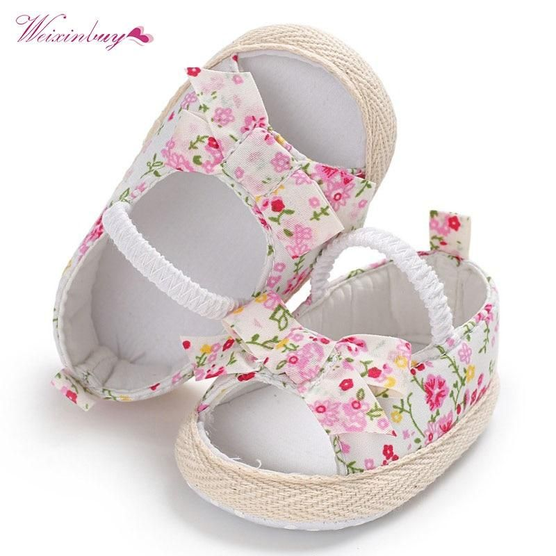 9246303602f6f Summer Princess Baby Girls Shoes Floral Bowknot Slip-on Crib Sneakers Soft  Sole First Walkers Newborn Infant Toddler 0-18M