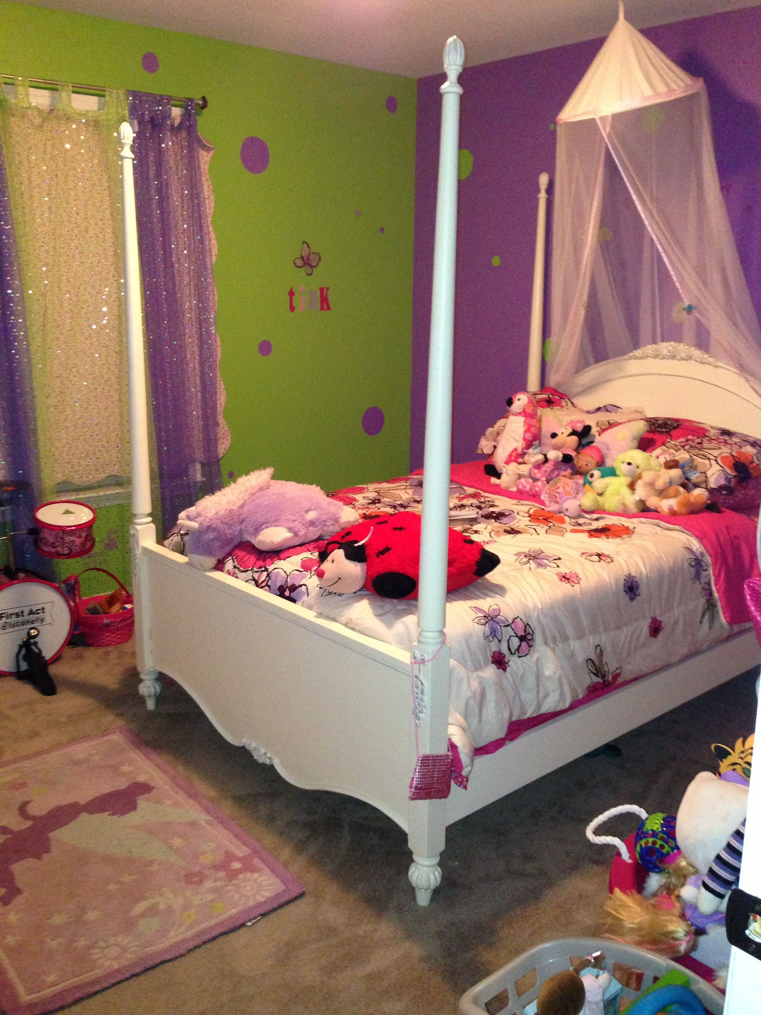 Girls Purple And Lime Green Room Canopy Bed Princess Lime Green