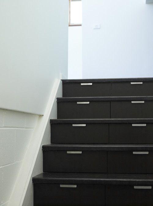 adding storage on staircase - amazing this