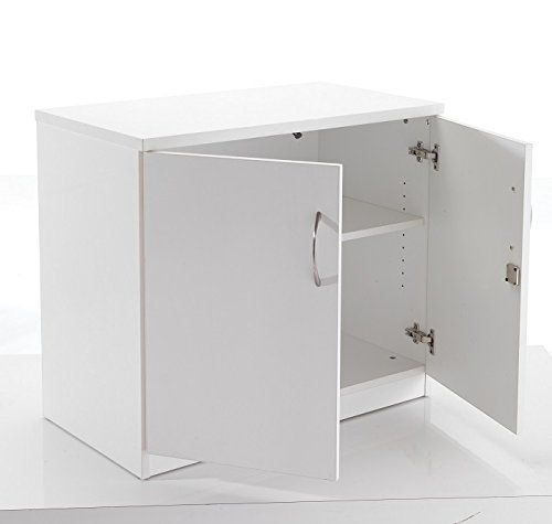 White Desk High Cupboard Lockable Double Doors 2 Shelf Office