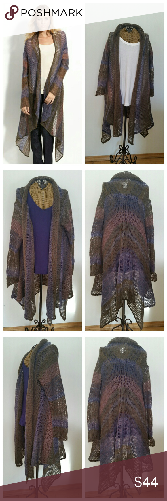 """Village Road long airy weave cardigan sweater Gorgeous sweater Sz S/M Airy knit lightweight & soft Multicolor Acrylic mohair polyamide  Underarm to underarm 19"""" Underarm to sleeve end 19"""" Top of shoulder to hem 41"""" at longest point Drape waterfall style Excellent condition village road Sweaters Cardigans"""