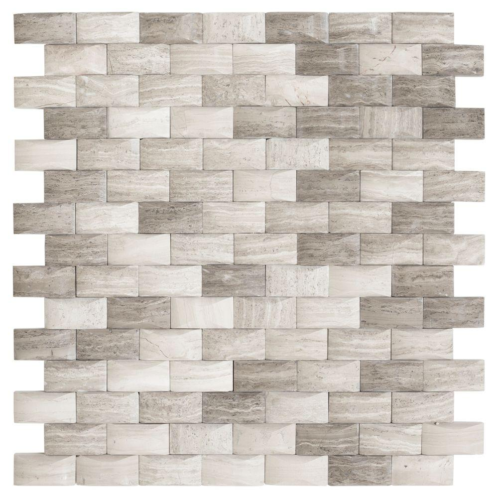Jeffrey Court Bohemian Grey 11 75 In X 12 In X 8 Mm Limestone Mosaic Wall Tile 99599 The Home Depot Mosaic Wall Tiles Jeffrey Court Mosaic Wall