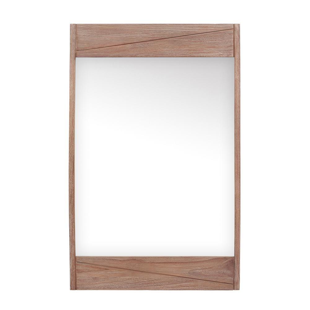 Avanity Teak 24 In W X 38 In H Single Framed Wall Mirror In