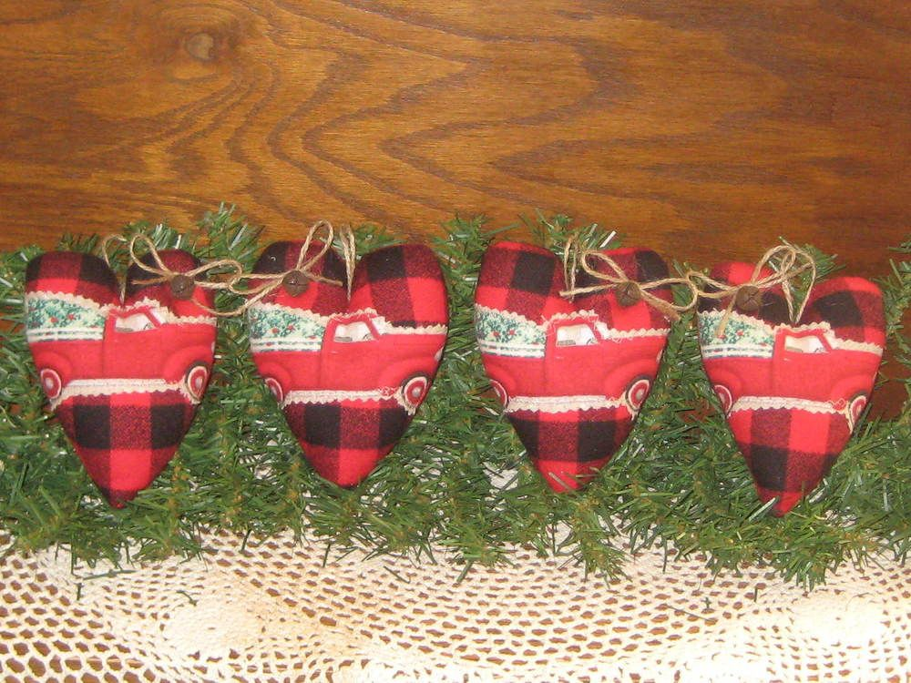 Details about 4 Handmade Buffalo Plaid fabric Old Red Truck Hearts