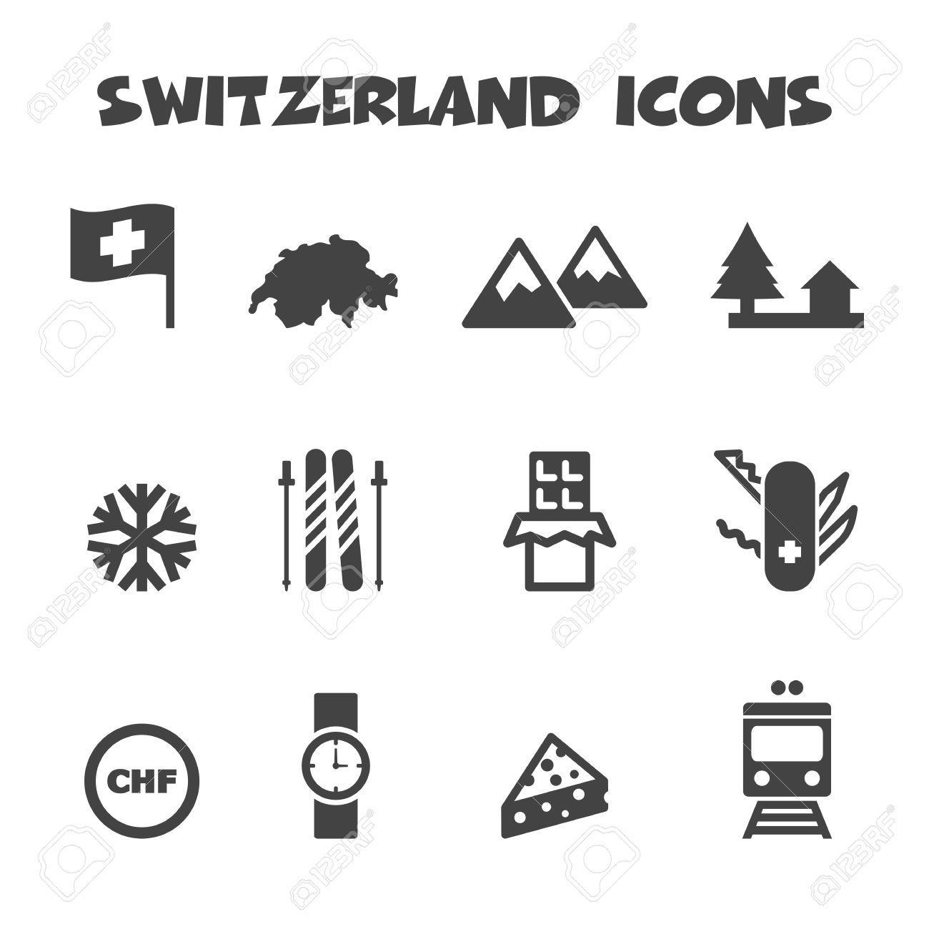 Switzerland Icons Mono Vector Symbols Living In Switzerland