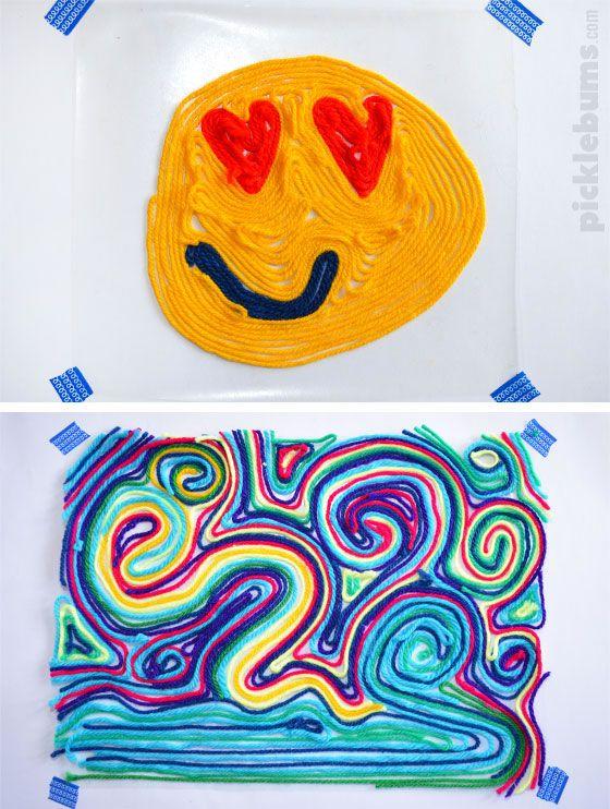 Como Dibujar Con Lana Aprende A Hacer Divertidos Cuadros Con Lanas De Colores Con Una Tecnica Muy Facil De Aplicar Cuadros Con Hilos Ninos Artisticos Ovillos